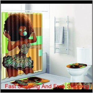 Bathroom Sets Carpet Rug Shower Curtain African Woman Toilet Seat Cover Bathroom Non-Slip Carpet And Shower Curtain 7Vjnd Qrls6