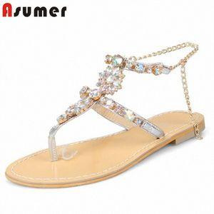 Asumer 2020 tamanho grande 50 mulheres mais novas sandálias de cristal fivela verão flip flops confortáveis festa de praia sapatos senhoras sandálias plana mens s n6ch #