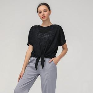 new Lulu women's Yoga suit fitness sports running quick dry T-shirt bat short sleeve smock