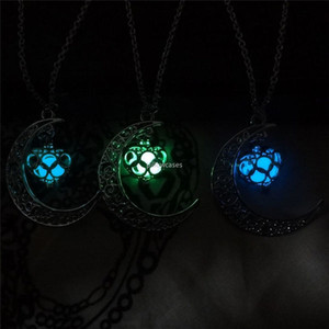 Heart Noctilucence Locket Necklaces Glow in the Dark Moon Heart Necklace pendant Fashion women necklaces fashion jewelry will and sandy