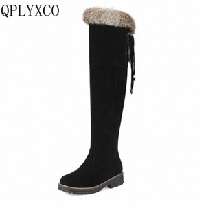 QPLYXCO Sale New Fashion Big Size 34 44 Russia Women Winter Warm Snow Long Boots Ladies Sweet Botas Round Toe 3 Clour Shoes 1772 w9Zo#