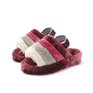 Mujeres Pantoufle Slipper Fur Disco Slippers Piel Rainbow Discoto Checker Slide Slides Platform Sliders Sandals Hausschuhe Tiempo de fondo grueso35-44