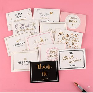 50pcs lot bronzing thank you for you best wishes Folding card gift message card DIY decoration Holiday greeting card envelope