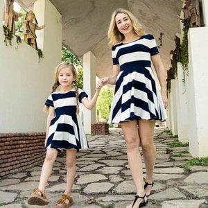 Familie Matching Outfits Mutter Tochter Kleider Kind Kleidung Mädchen Kleidung Baumwolle Sommer Kurzarm Gestreifte Kinder Strand Kleid Casual