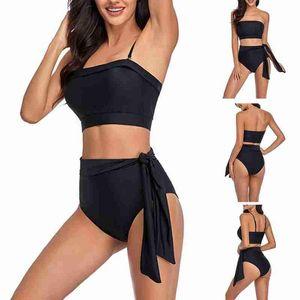 Мода Дамы Сплит Купальник Женщины Двухструктурные Черные Купальники Пляж Носить Сексуальные Backbloet Bikini Tight Купаться Купальником