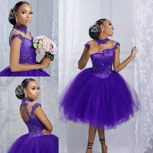 Colorful Wedding Dresses 2021 A-line Boho For Africa Bridal Gowns High Neck Backless Short Tulle Pre-Wedding Photo Show