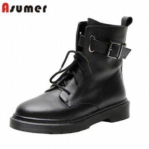 Asumer 2020 Tamanho grande 42 Botas de tornozelo Mulheres Genuine couro liso sapatos lace up fivela outono outono inverno botas punk casual sapatos mulher mens l t8d2 #