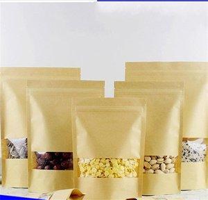 14 tailles Sacs de barrière d'humidité alimentaire Emballage Scellage Pochette Brown Kraft Papier Pochette Pochette avec fenêtre dégagée 192 S2