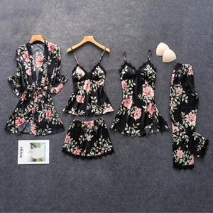4 5PC Women Pajamas Sets Sexy Lace Satin Robe Bathrobe Trousers Shorts Lingerie Set Pajamas Sleepwear With Chest Pads 2020
