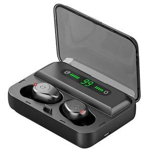 TWS F9 F9-5 Auricular inalámbrico auricular Bluetooth V5.0 Mini Smart Touch Auriculares LED Pantalla LED con auriculares de 1200mAh Power Bank y MIC MQ20