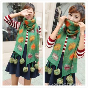 New Korean version polka color contrast ball patch dot knitting wool autumn winter scarf neck women W20