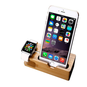 Bamboo Wood 2 in 1 Charging Dock Desktop charger Station Cell Phone Stand Holder Bracket Support For iphone accessories Watch Mobile Phone