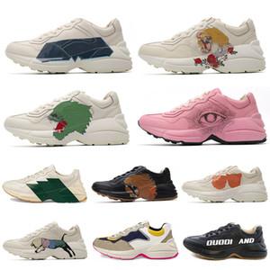 Mais novo Rhyton Sneaker Sneaker Mens Paizinho Sapatos Com Morango On Wave Boca Tigre Web Impressão Luxo Vintage Trainer Mulheres Designer Boots Sapatos