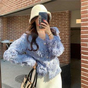 Elegant Jacket Spring 2021 New High Street Plush Coat Female Shorty Women Tassel Pearl Button Long Sleeve V-neck Cardigan