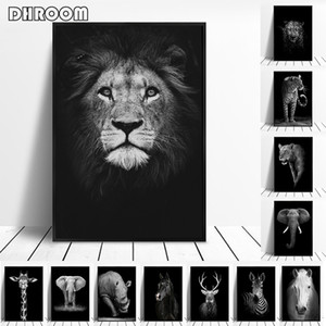 Canvas Painting Animal Wall Art Lion Elephant Deer Zebra Posters and Prints Wall Pictures for Living Room Decoration Home Decor GWD5009