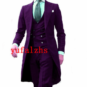 Handsome Long Patter Groomsmen Peak Lapel Groom Tuxedos Mens Wedding Dress Man Jacket Blazer Prom Dinner suits (Jacket+Pants+Tie+Vest) W686