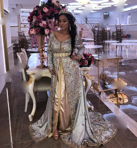 2021 V Neck Long Sleeves Moroccan Kaftan Evening Dresses Appliques Long Dubai Prom Gowns Custom Made Plus Size Arabic Islamic Dress
