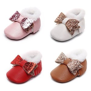 Newborn Shoes Baby Shoes Winter Sequin Bows Baby Girls Shoes Princess Tassels Moccasins Soft First Walking Shoe 0-1T B4095