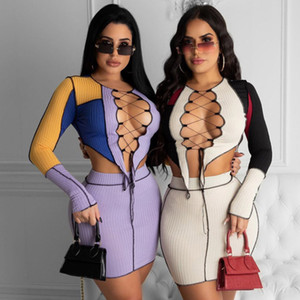 Women S Clothing 2 Piece Skirt Set Winter New Style Lace Up Cut Out Color Contrast T-shirt Hollow Stitching Top Short Skirt