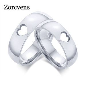 Zorcvens Couples Promised Jewelry 6mm Sier Color Rvs Love Heart Wedding Ring for Women Man
