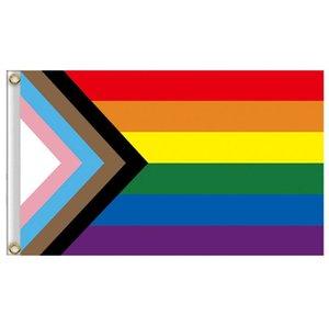 Оптовая 90 * 150см треугольник радуги флаги баннер полиэстер металлические втулки ЛГБТ гей радуги прогресс гордость флага украшения SN5252