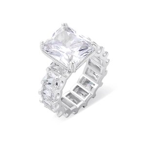 Vecalon 2019 Vintage Princess Cut Ring 925 Sterling Silver 6ct Diamond Compromiso Anillos de banda de boda para mujeres Joyas de dedos 39 U2