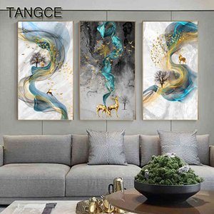 Abstract Golden Deer Paintings Pictures Modern Canvas Painting Blue Poster Print Wall Art For Living Room Bedroom Nordic