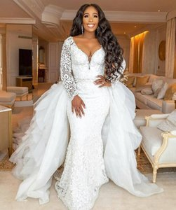 African Luxury Long Sleeves Plus Size Arabic Mermaid Wedding Dress With Derachable Train Deep V Neck Black Girl Lace Bridal Gown