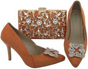 أحذية ملابس برتقالية ومطابقة حقائب السيدات مع مجموعة زينت الراين حزب سوبر عالية الكعب Bl003