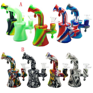 2 style 5.1 inch Mini Silicone water pipe bong Unbreakable Cartoon Printing Silicone Dab Oil Rig Percolators Perc Removable Straight With