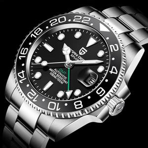 Pagani Design 2020 Hommes de luxe Mécanical Montre-bracelet en acier inoxydable GMT Montre Top Marque Sapphire Glass Hommes Montres avec boîte