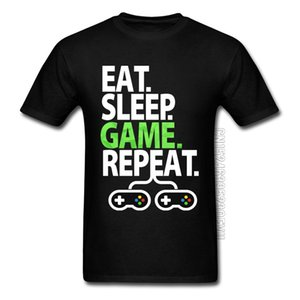 EAT SLEEP GAME REPEAT Z Unit Printed Tshirt Play Letter PC Controller Gamer Pure Cotton Top T-shirts for Men L0223