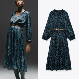 2021 New Women Vintage Blet Sation A-line Lantern Sleeve Bow Collar Floral Printed Elegant Casual Party Ol Fashion Long BCBQ