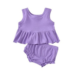 Baby Clothing Toddler Girls Sleeveless Solid Pit Strip Camisole Suspender Vest Tops+Ruffles Shorts Suit Outfits 2PCS Set YYS4915