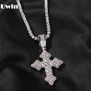 Chains UWIN Fashion Jewelry Cross Pendent Necklace Iced Out Cubic Zirconia Charms Punk Style HipHop For Drop
