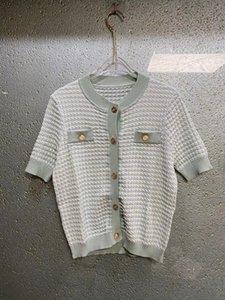 12 2021 Взлетно-посадочная полоса пружина Бренд та же стиль свитер с коротким рукавом шеи пуловер мода женская одежда высокого качества женские Цянь