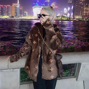 [No bear] Jacket female Korean version loose student autumn and winter hooded plush jacket coral fleece cotton coat lovers