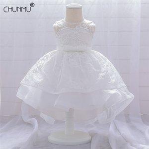 Infant bébé filles fleur robes de chromation robes de baptême bébé bébé baptême vêtements princesse dentelle traînante robe d'anniversaire de 1ère année 210315