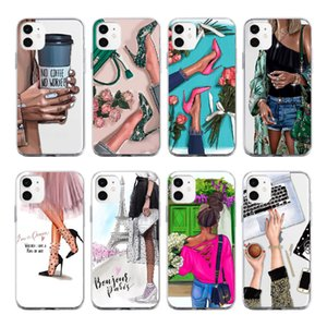 Gifts Fashion Girls Shoes Coffee Paris High Hells For iPhone 12 11 Pro 7Plus 7 8 8Plus X XS Max XR Soft Clear Phone Case Cover