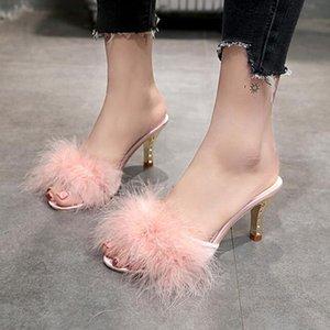 Yaz Ayakkabıları Kadın Tüy Ince Yüksek Topuklu Kürk Terlik Peep Toe Katmanlar Lady Pompaları Slaytlar Büyük Boy