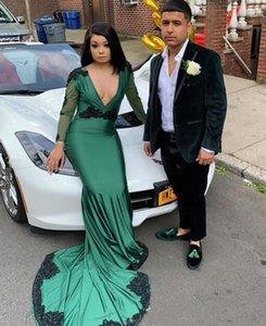 Dark Green V cou manches longues Robes de soirée de sirène avec appliques balayer Satin Satin Occasion Occasion Robes de bal