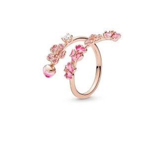 NEW flower Ring CZ diamond Open Rings Women Jewelry for Pandora 925 Sterling Silver Wedding RING set with Original box