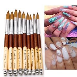 Cepillo de uñas Plana Redonda Sable Nail Art Gel Brush Gel Builder Manicure Cepillo con Madera Handle Nail Art Herramienta