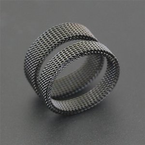 Cluster Rings Vintage Black Net For Men Stainless Steel Finger Jewelry 2021 Design 4mm\6mm Couple Ring Clearance Sale Women