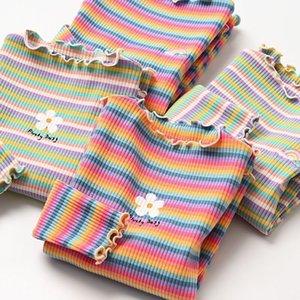 Видмид Весна Осень Новые Рубашки для девочек Детская Футболка Одежда Девушки Полосатая Хлопок Повседневная Футболка Детская Цветочная Одежда P655 Q0203