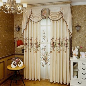 NEW Luxury European Curtains for Living Room Bedroom High-grade Custom Chenille Embroidery Sheer Curtains Customize Cloth Valance Y200421
