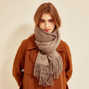 Autumn&Winter Ladies 100% Wool Scarf Solid Color Lambswool Wild Warm Knitted Shawl
