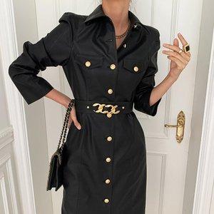 [EWQ] 2021 Зимняя женская женская новая свободная повседневная порция воротника сплошной цвет с длинным рукавом минималистский кружев из искусственного кожаного платья 8Q398