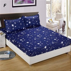 Sheets & Sets 3PC Bed Sheet With Case Geometric Printed Fitted Elastic Linen Polyester Mattress Cover Queen Size