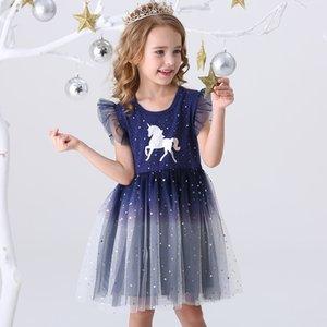 DXTON 2021 NUEVO Vestidos de princesa de verano Volando Mouwen Unicornio Party Girls Vestido Niños 3-8Y
